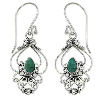 Handcrafted Sterling Silver 'Turquoise Arabesque' Turquoise Earrings (Indonesia)