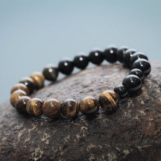 Handcrafted Ceramic 'Sun and Night' Tiger's Eye Agate Bracelet (Peru)