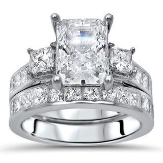 Noori 14k White Gold Moissanite and 1 3/5ct TDW Diamond Engagement Ring Set (G-H, SI1-SI2)