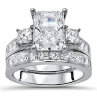 Noori 14k White Gold Moissanite and 1 3/5ct TDW Diamond Engagement Ring Set (G-H, SI1-SI2)