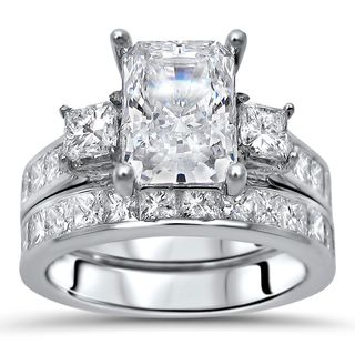 Noori 14k White Gold Moissanite and 1 3/5ct TDW Diamond Engagement Ring Set (G-H, SI1-SI2) (More options available)