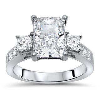 Noori 14k White Gold Radiant Moissanite 3-stone and 1ct TDW Diamond Engagement Ring (G-H, SI1-SI2)