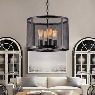 Tiyosa Black Round Mesh Shade Pendant with Edison Bulbs