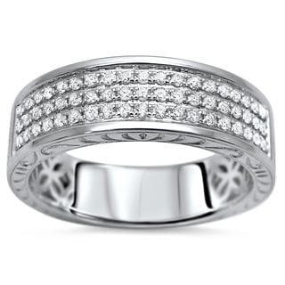 Noori 14k White Gold Men's 1/2ct TDW Round Diamond Wedding Band