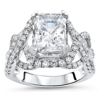 Noori 14k White Gold Radiant Moissanite and 3/4ct TDW Diamond Ring (G-H, SI1-SI2)