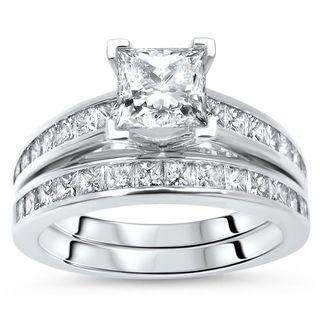Noori 14k White Gold 1 3/4ct TDW Princess Cut Diamond Enhanced Engagement Ring Bridal Set (G-H, SI1-SI2)