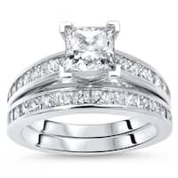 Noori 14k White Gold 1 3/4ct TDW Princess Cut Diamond Enhanced Engagement Ring Bridal Set