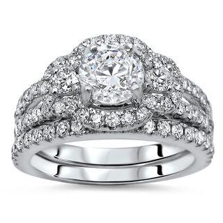Noori 14k White Gold 1 3/5ct TDW Round Diamond Enhanced Bridal Set (G-H, SI1-SI2)