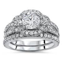 Noori 14k White Gold 1 3/5ct TDW Round Diamond Enhanced Bridal Set