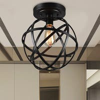 Warehouse of Tiffany Emrael Antique-black Globe 1-light Edison Bulb Ceiling Lamp