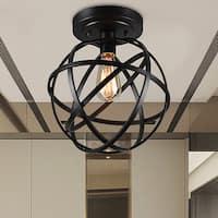 Emrael 1-light Globe Ceiling Lamp Antique Black Includes Edison Bulb