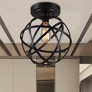 Warehouse of Tiffany Emrael Antique-black Globe 1-light Edison Bulb Ceiling L& & Buy Warehouse of Tiffany Flush Mount Lighting Online at Overstock ...