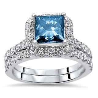 Noori 18k Gold 2ct TDW Princess-cut Blue Diamond Bridal Set - White