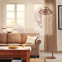 Pioko Speckled Copper Caged Floor Lamp with Bulbs