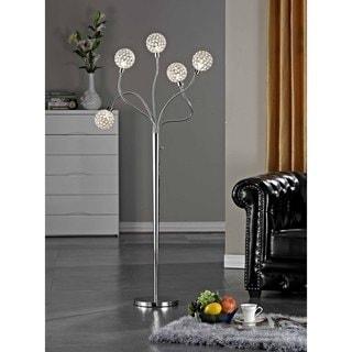 "Artiva USA  SOHO  65""H  Modern 5-Light Brushed Steel  Crystal Balls  Floor Lamp with Dimmer"