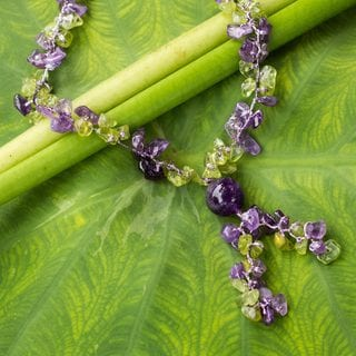 Handcrafted Sterling Silver Overlay 'Spring Iris' Peridot Amethyst Necklace (Thailand)