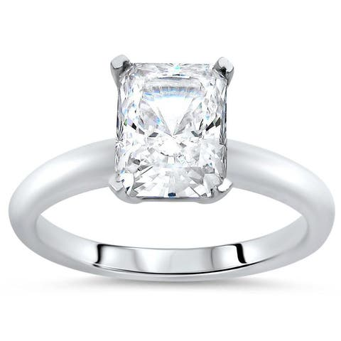 14k White Gold 1 3/4ct TGW Radiant Cut Moissanite Solitaire Engagement Ring