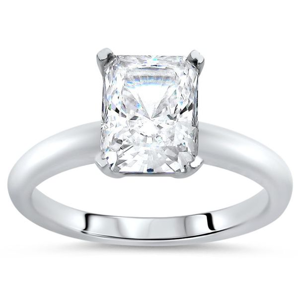 14k White Gold 1 3/4ct TGW Radiant Cut Moissanite Solitaire Engagement Ring. Opens flyout.
