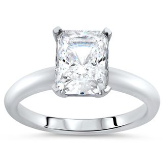Noori 14k White Gold 1 3/4ct TGW Radiant Cut Moissanite Solitaire Engagement Ring