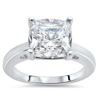 Noori 14k White Gold 2ct TGW Cushion-cut Moissanite Solitaire Engagement Ring