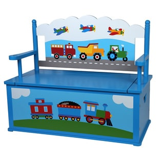 Levels of Discovery Multicolored Trains, Planes, Trucks Bench Seat with Storage
