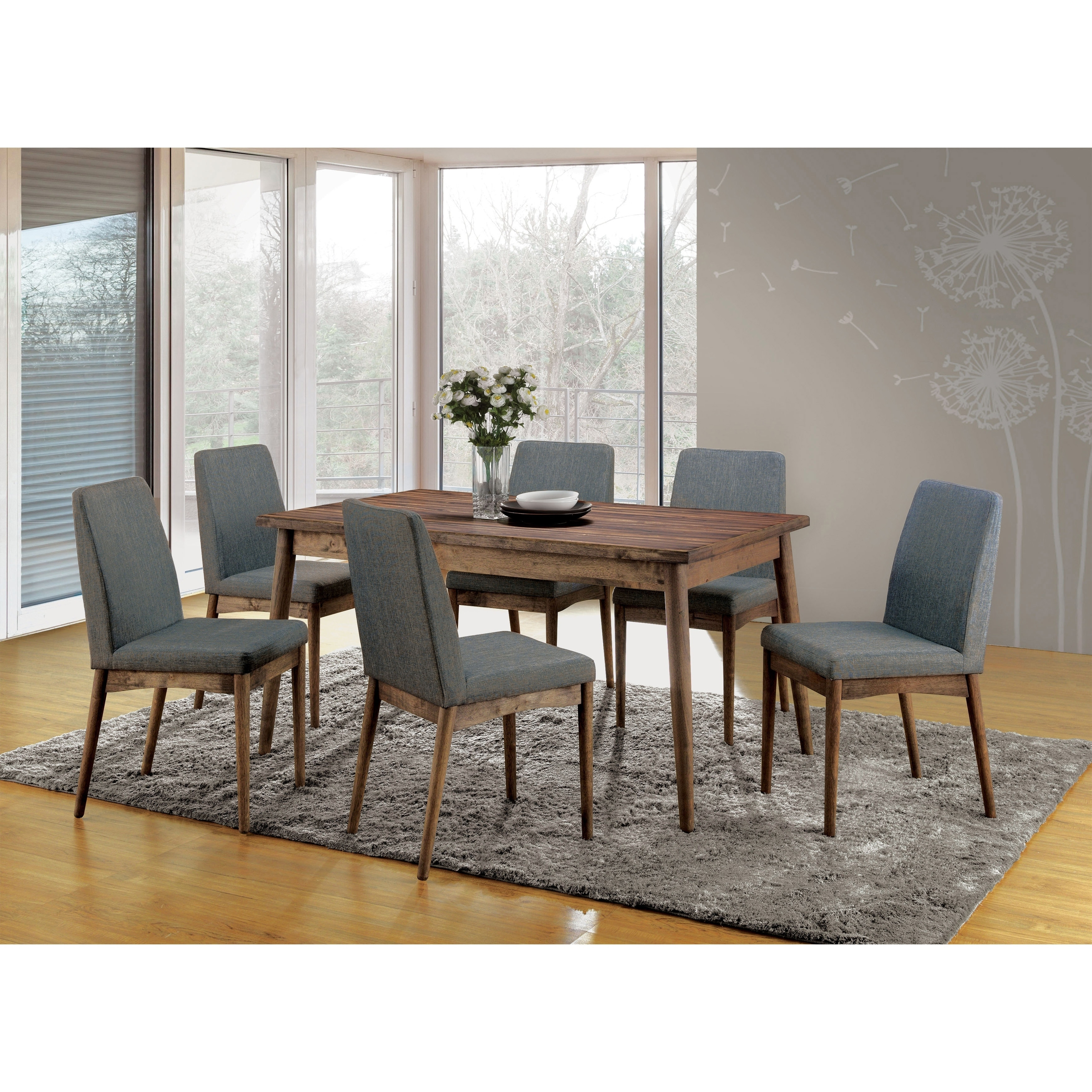 Dining Room Set Mid Century Modern 7 Piece Rustic Wood Table Grey