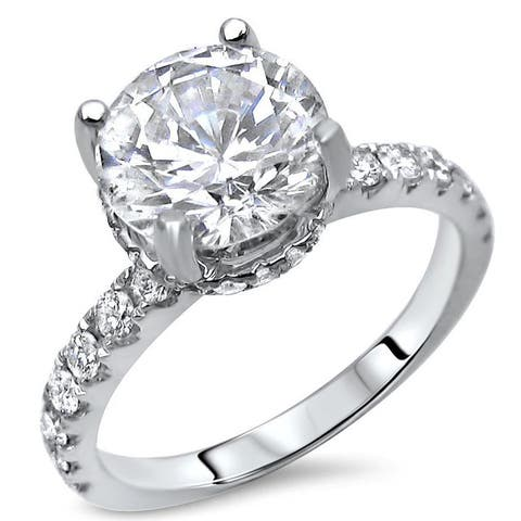 18k White Gold Round Moissanite and 1/2ct TDW Diamond Engagement Ring (G-H, SI1-SI2)