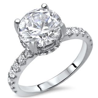Noori 18k White Gold Round Moissanite and 1/2ct TDW Diamond Engagement Ring (G-H, SI1-SI2)