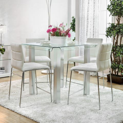 Furniture of America Maza Glass/ Silver Finish Counter Dining Table