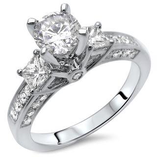 Noori 14k Gold 1 1/2ct TDW Round-cut Diamond Enhanced 3-stone Engagement Ring