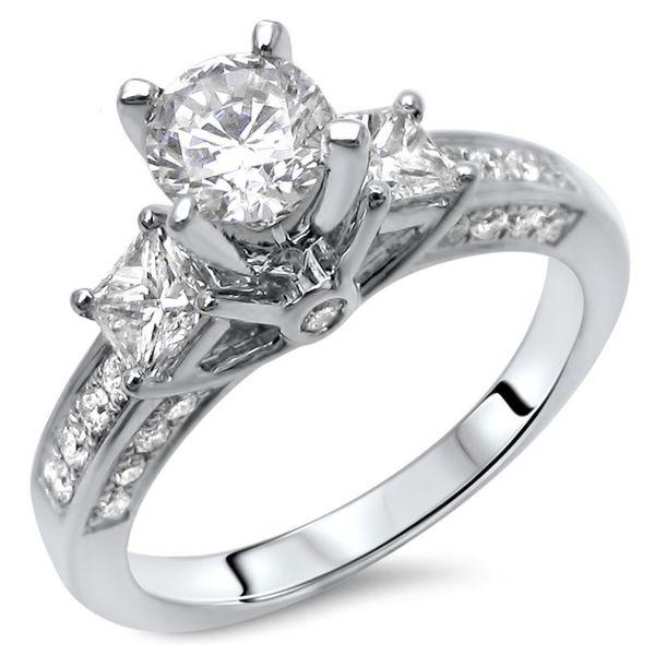 Noori 14k Gold 1 1/4ct TDW Round-cut Diamond 3-stone Engagement Ring - White G-H