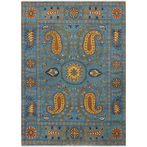 Handmade Herat Oriental Indo Tribal Kazak Wool Rug (India) - 8' x 10'