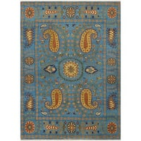 Handmade Herat Oriental Indo Tribal Kazak Wool Rug - 8' x 10' (India)