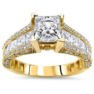Noori 14k Gold 2 2/5ct TDW Princess-cut Enhanced Diamond Engagement Ring