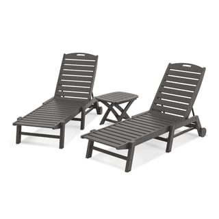 POLYWOOD® Nautical 3-Piece Outdoor Chaise Lounge Set with Table