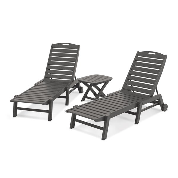 Polywood Nautical 3 Piece Outdoor Chaise Lounge Set With Table