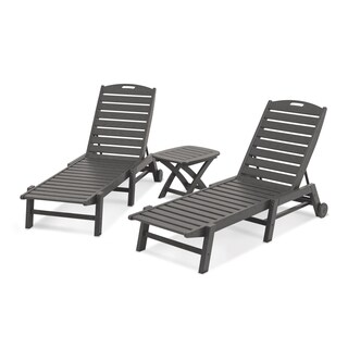 POLYWOOD Nautical 3-Piece Outdoor Chaise Lounge Set with Table
