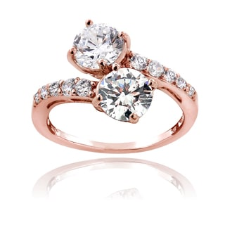 ICZ Stonez 18k Rose Gold over Silver Cubic Zirconia Twist Ring
