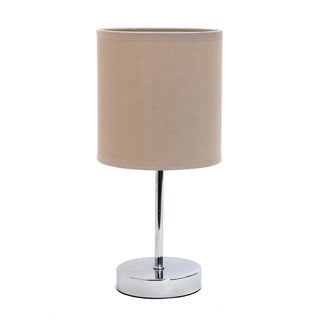 Simple Designs Chromed Iron 40-watt 1-light Drum Shade Mini Table Lamp