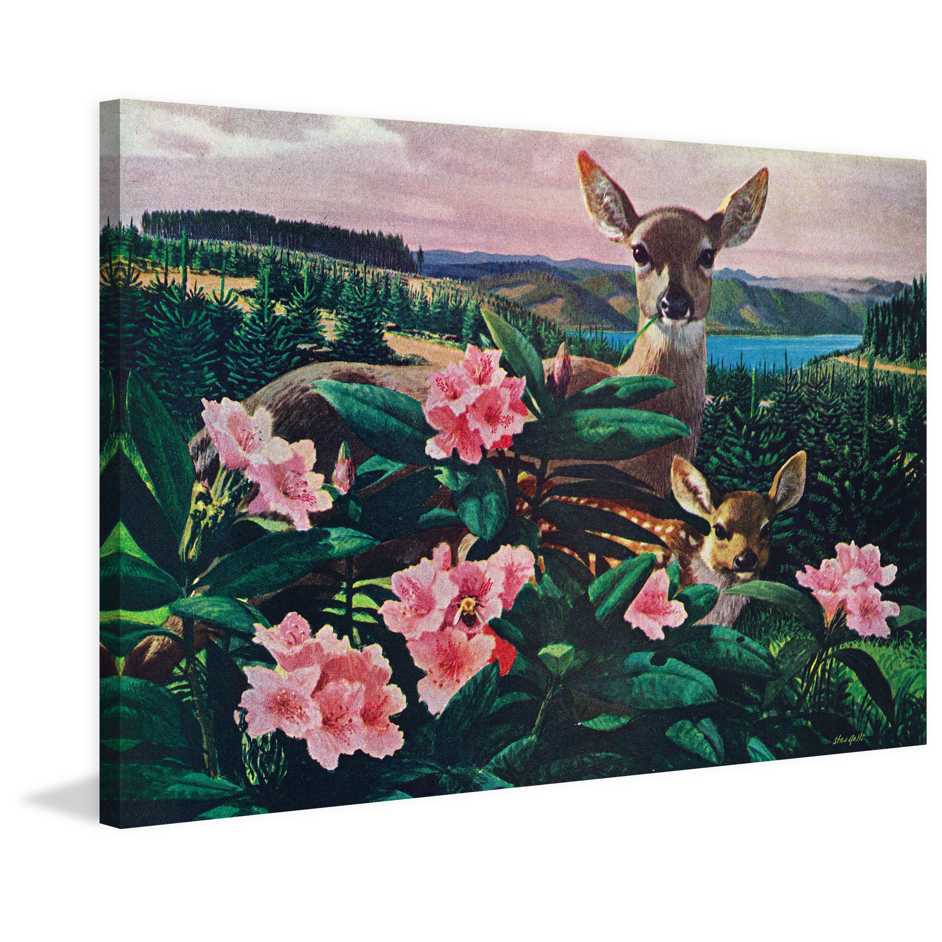 Marmont Hill Handmade Doe And Fawn Print On Wrapped Canvas Overstock 13999185