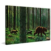 Marmont Hill - 'Bear Walk' Painting Print on Wrapped Canvas - Green