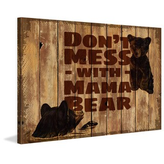 Marmont Hill - 'Mama Bear 2' Painting Print on Wrapped Canvas - Black