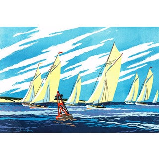 Marmont Hill - 'Yellow Sailboats' Painting Print on Wrapped Canvas