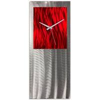 Helena Martin 'Red Studio Clock' Red Modern Clock on Ground and Colored Aluminum