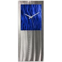 Helena Martin 'Blue Studio Clock' Blue Modern Clock on Ground and Colored Aluminum