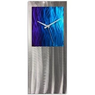 Nate Halley 'Splash Studio Clock' Royal Modern Clock on Ground and Colored Aluminum