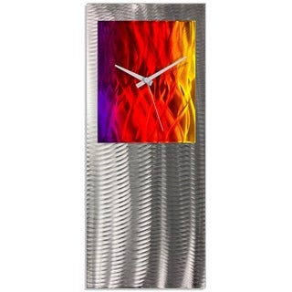 Nate Halley 'Sunrise Studio Clock' Rainbow Modern Clock on Ground and Colored Aluminum