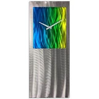 Helena Martin 'Elements Studio Clock' Artistic Modern Clock on Ground and Colored Aluminum