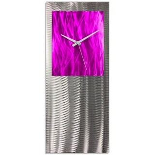 Helena Martin 'Pink Studio Clock' Cute Chic Clock on Ground and Colored Aluminum