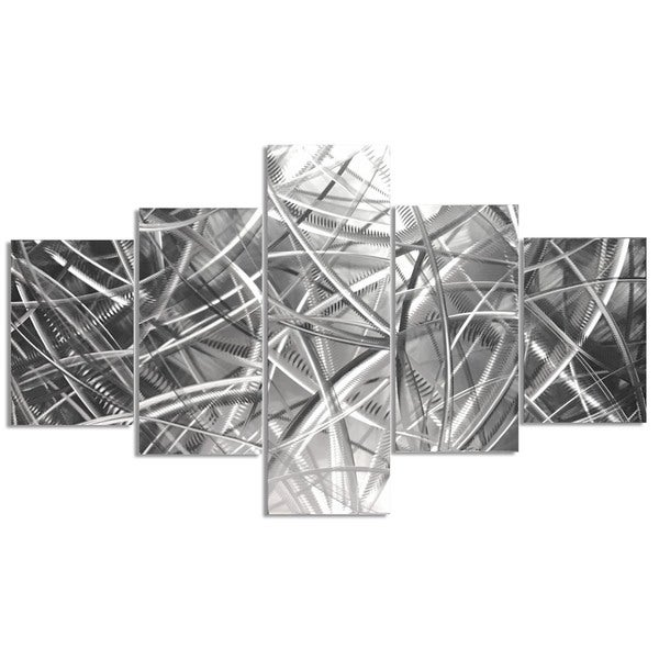 Helena Martin 'Columnar Fibers' Abstract Metal Art on Natural Aluminum